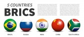 BRICS  association of 5 countries  Banner 3D sphere ball design  White isolated background  Vector