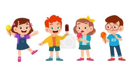 glücklich süße Kinder essen Eis-Set