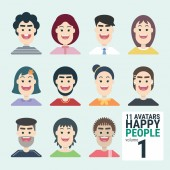Variety of human 11 Avatars Happy PEOPLE volume 1 Man and woman for your business work With a variety of characters including face dress and unique style You can choose and can be used easily flat design modern vector illustration concept