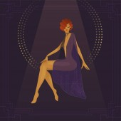 Girl circus actress show cabaret Stylish vintage transparent gradient plot from the past 1920s fashion magazine art deco style luxury high society woman Under the circus dome