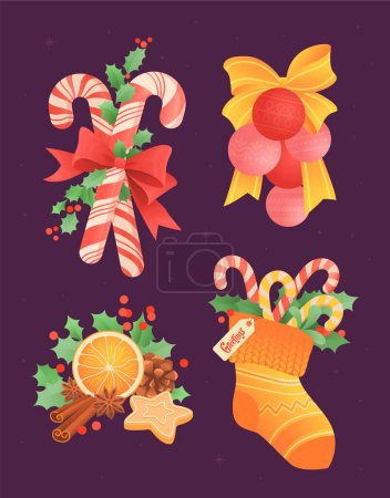 Illustration for A set of Christmas balls with a bow, a slice of orange with cinnamon, candy canes in a sock and holly leaves. Decor for new year card. Flat vector illustration. - Royalty Free Image
