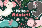 Cute summer Kawaii axolotl baby amphibian drawing Poster with funny lizards Flat style design Ambystoma mexicanum