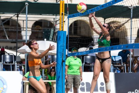 Photo for Thessaloniki - Greece June 8, 2018: Undefined player in action during the Hellenic championship Beach Volley Masters 2018 at Aristotelous square. - Royalty Free Image