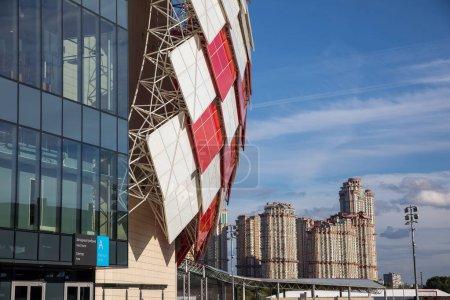 Photo pour Moscou, Russie - 14 août 2018 : Vue extérieure de l'aréna Otkritie avant la Ligue des Champions de l'UEFA Troisième tour de qualification, entre le FC Spartak et le PAOK - image libre de droit