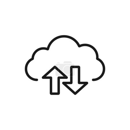 Illustration for Cloud sync. minimal thin line web icon. simple vector illustration outline. concept for infographic, website or app. - Royalty Free Image