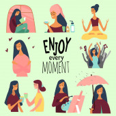 Love yourself set Vector lifestyle concept card with text enjoy every moment  Motivation to take time for yourself: read books go to events be positive do yoga healthcare Vector illustration