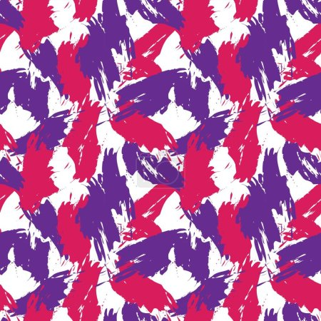 Illustration for Purple Brush Stroke Camouflage abstract seamless pattern background suitable for fashion textiles, graphics - Royalty Free Image