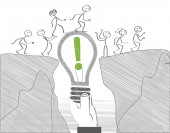 Achieving goal concept - businesspeople overcome obstacle Vector Illustration concept with stick figures
