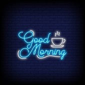 Good Morning for poster in neon style Good Morning Neon signs greeting card invitation card light banner posters flyer