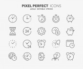 Thin line icons set of time and clocks Outline symbol collection Editable vector stroke 64x64 Pixel Perfect