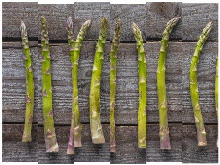 Photo pour Collage d'asperges naturelles vertes mûres sur la table en bois - image libre de droit