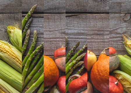 Photo for Collage of ripe natural raw asparagus, pumpkin and corn on wooden table - Royalty Free Image