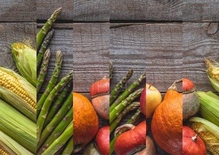 Photo pour Collage d'asperges crues naturelles mûres, de citrouille et de maïs sur la table en bois - image libre de droit
