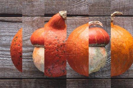 Photo pour Collage de citrouille naturelle orange mûre sur la table en bois - image libre de droit