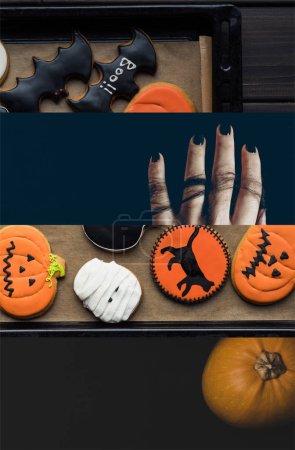 Photo pour Collage de biscuits traditionnels d'Halloween décorés savoureux - image libre de droit