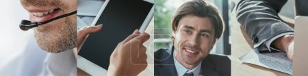 Foto de Collage de trabajadores de oficina con gadgets - Imagen libre de derechos