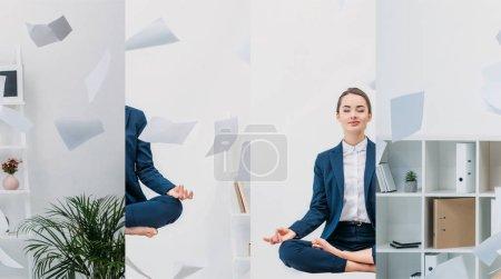Photo pour Collage de jeune femme d'affaires avec les yeux fermés méditant dans l'air avec du papier au lieu de travail - image libre de droit
