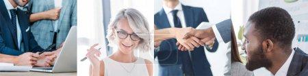 Photo pour Collage de gens d'affaires multiethniques dans le bureau se serrant la main - image libre de droit