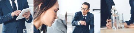 Photo pour Collage de gens d'affaires à la réunion dans le bureau - image libre de droit