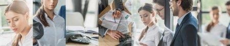 Photo pour Collage d'homme d'affaires et d'homme d'affaires travaillant dans le bureau - image libre de droit