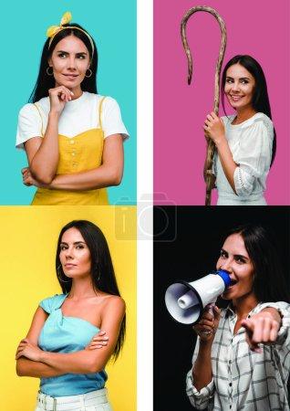 Photo pour Collage de femme brune affichant différentes émotions - image libre de droit