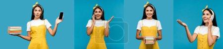 Photo pour Collage de femme brune parlant sur le smartphone, retenant des livres et montrant différentes émotions isolées sur le bleu - image libre de droit