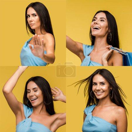 Photo pour Collage de la belle femme brune affichant différentes émotions isolées sur le jaune - image libre de droit