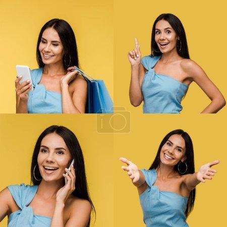 Foto de Collage de la mujer morena usando el teléfono inteligente, mostrando diferentes emociones y gesto de idea aislado en amarillo - Imagen libre de derechos