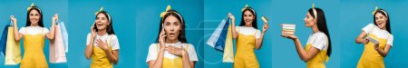 Photo for Collage of brunette woman using smartphone, holding shopping bags and showing various emotions isolated on blue - Royalty Free Image