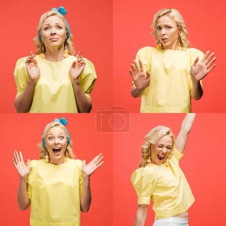 Foto de Collage de rubia hermosa joven en traje retro mostrando varias emociones y gestos aislados en rojo - Imagen libre de derechos