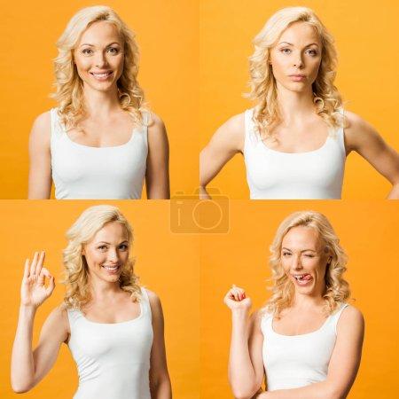 Photo pour Collage de la belle jeune femme blonde affichant diverses émotions d'isolement sur l'orange - image libre de droit