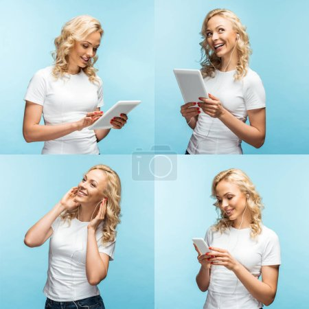 Photo for Collage of blonde smiling young woman using smartphone, digital tablet and listening music in earphones isolated on blue - Royalty Free Image