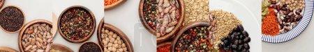 Photo pour Collage of different groats on white surface - image libre de droit