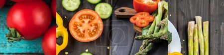 Photo for Collage of tomato, asparagus and cucumber on wooden dark table - Royalty Free Image
