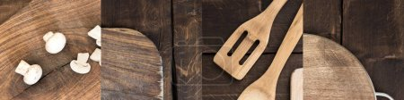 Photo pour Collage of cut mushrooms, cutting board and spatulas on wooden brown table - image libre de droit