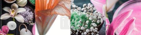 Photo pour Collage of lily flowers, bath salt and candles - image libre de droit