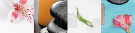 Photo for Collage of green leaf, pink lily flowers and spa stones - Royalty Free Image