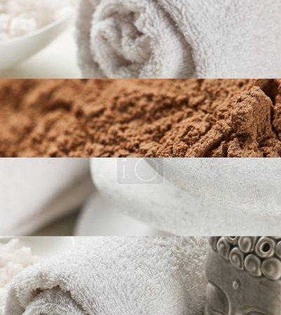 Photo pour Collage of spa stones, cotton towels, brown clay and Buddha statuette - image libre de droit