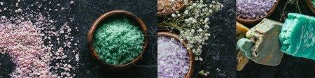 Photo pour Collage of organic bath salt and colorful soap on dark background - image libre de droit