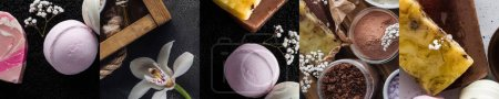 Photo pour Collage of organic bath salt, bath bombs and colorful soap near flowers on dark background - image libre de droit