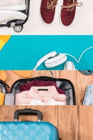 collage of travel bags, clothes and headphones, travel concept
