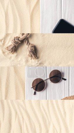Foto de Collage de arena, cuerda, gafas de sol y teléfono inteligente con pantalla en blanco sobre fondo de madera blanca, concepto de viaje. - Imagen libre de derechos