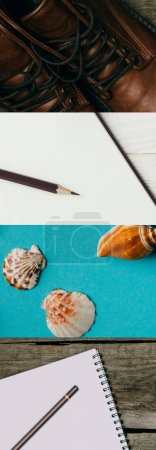Photo for Collage of leather boots, blank notebook with pencil on wooden background and seashells on blue background, travel concept - Royalty Free Image