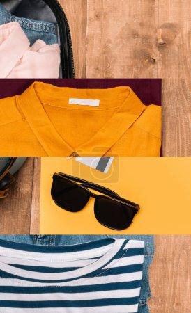 Foto de Collage of suitcase with bright clothing and sunglasses on wood surface, travel concept. - Imagen libre de derechos
