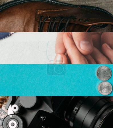 Photo pour Collage of leather boots, hands, coins and digital camera, travel concept - image libre de droit