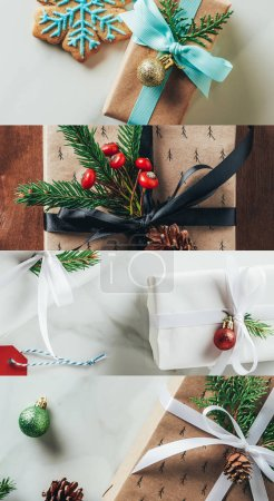 Photo for Collage of Christmas decorated gifts on wooden and marble background - Royalty Free Image