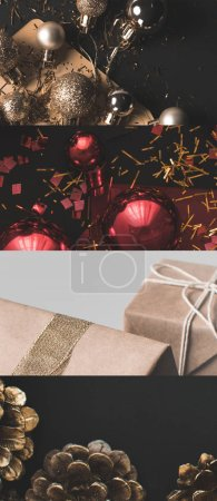Photo pour Collage of shiny Christmas baubles, cones and wrapped gifts - image libre de droit