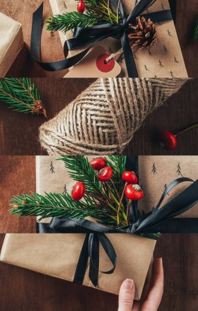 Photo pour Collage of decorated festive Christmas gifts on wooden background - image libre de droit