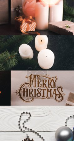 Photo pour Collage of Merry Christmas greeting card, candles, silver bauble gifts and fir branch - image libre de droit