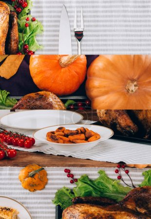 Photo pour Collage of pumpkins and baked turkey served on striped tablecloth, Thanksgiving festive table setting - image libre de droit